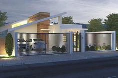 Have a look at this magnificent roller garage doors - what an ingenious design and style House Fence Design, Front Wall Design, Modern Fence Design, Garage Door Design, Gate Design, Modern House Design, Garage Doors, Carport Designs, Tiny House Cabin
