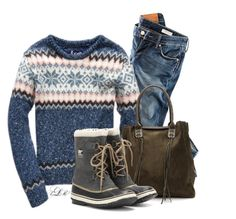 """""""Fairisle Love"""" by tmlstyle ❤ liked on Polyvore featuring H&M and SOREL"""