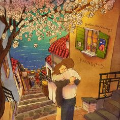New Illustrations By Korean Artist Puuung - Hold Me Tightly - Stay still like this. I want to feel your heart thumping a little longer. Art And Illustration, Couple Drawings, Love Drawings, Art Drawings, Puuung Love Is, Cute Couple Art, Korean Artist, Cute Love, Love Art