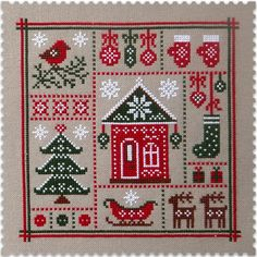 Cross stitch Pattern in PDF format. Designed by Irina Veber. 99w x 99h stitches. Size 32 count, 16w x 16h cm. Fabric: Murano 32 count Light Taupe. Threads DMC, 4 colors. Pattern of handmade. Pattern is embroidered. This sampler will create Christmas mood in your house