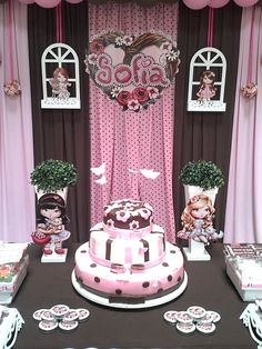 """Photo 3 of Pink & Brown Dessert Table / Birthday """"Jolie for Sofia"""" Kids Party Decorations, Baby Shower Decorations, Party Ideas, Dessert Table Birthday, Birthday Candles, Bubble Guppies Party, Elsa Cakes, Cowgirl Birthday, Party Tables"""