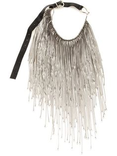 by GOTI Silver tone metal fringe necklace from Goti featuring graduated chain details, a leather strap, a buckle fastening and an engraved logo tag.