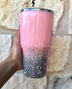 Baby Pink to Silver Glitter Ombré Personalized Tumbler or Stemless Wine Cup. YETI, HOGG or Ozark Trail – Custom tumbler cups – gitter Diy Tumblers, Personalized Tumblers, Custom Tumblers, Glitter Tumblers, Acrylic Tumblers, Personalized Baby, Vaso Yeti, Glitter Carnaval, Tumblr Cup