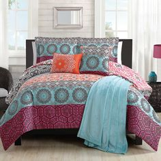 Boho Chic Twin XL Comforter Set in Orange