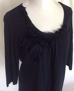 Chicos Sz 1 Med 8 Knit Top Shirt Chic Bow Lizie 3/4 Ink Blue Black Fray Rose NWT #Chicos #KnitTop
