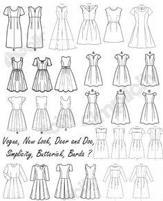 robes rétro/vintage... Troisième cas: robe avec corsage basique sur jupe à plis