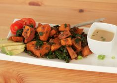 Rosemary Yams with French Lentils - A GOOD DISH TO USE LEFTOVER ROASTED SWEET POTATOES AND GOOD FOR YOU KALE. JUST USE OIL, NO NEED FOR COCONUT OIL.