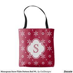 Monogram Snowflakes Pattern Red White Tote Bag