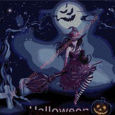 venta online grafico a punto de precioso cuadro de una bruja en haloween. hilo marca DMC mouline , tela especial para punto de cruz: aida 14.