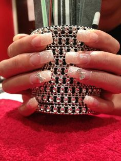 Acrylic Nails. French Manicure. Gel Overlay.  Free Hand Nail Art. White Glitter tips. 3D Nail art diamante bows