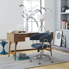 Home office with desk from West Elm
