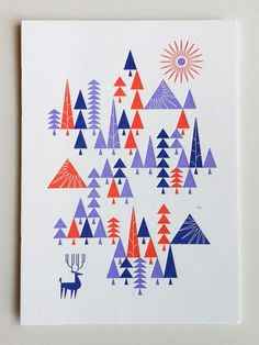 Modern flat christmas card design inspiration