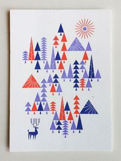 Modern flat christmas card design inspiration