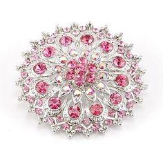 Pink Rose Floral Flower Bride Wedding Festive Maid Design Crystal Brooch Pin $11.99