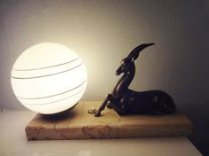 Original Vintage French Art Deco Gazelle Antelope Table Lamp Light on Marble Plinth 1940s - PERFECT CONDITION