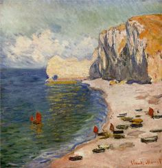 Étretat: The Beach and the Falaise d'Amont: 1885 by Claude Monet (Art Institute of Chicago, IL) - Impressionism Claude Monet, Monet Paintings, Landscape Paintings, Landscape Art, National Gallery Of Art, Art Gallery, Desenhos Van Gogh, Van Gogh Pinturas, Artist Monet