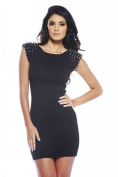 Studded Shoulder Bodycon Dress - SoCoCo Boutique