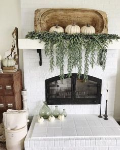 Rustic style mantle with pumpkin as decor