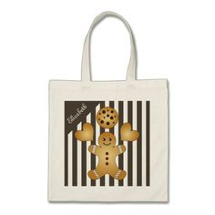 Cute Team Cookie Stripes Personalized Girls Tote Bag