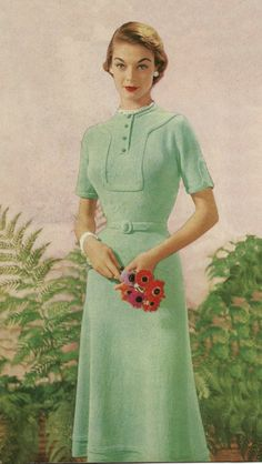 1953 Pale Green Dress Jean Patchett