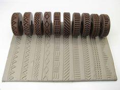 Sada dekoračních koleček pro keramickou hlínu. Ceramics, pottery. Clay stamp rollers.