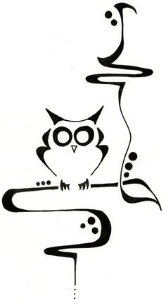 Owl drawing, art nouveau style