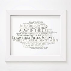 The Beatles limited edition anthology typography lyrics art print, signed and numbered album wall art poster in our Platinum style available from www.lissomeartstudio.com