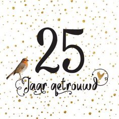 lovz | hippe uitnodiging 25 jaar getrouwd vogel handlettering en confetti koper look Wedding Cards, Diy Wedding, Wedding Day, 25th Wedding Anniversary, Happy Anniversary, Engagement Cards, Wedding Engagement, Xmas Cards, Diy Cards