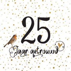 lovz | hippe uitnodiging 25 jaar getrouwd vogel handlettering en confetti koper look