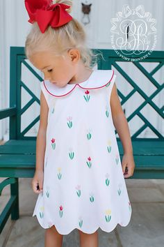 d34f36527435 Luanne's Lunch Dress - Travilah Tulip with Richmond Red - The Beaufort  Bonnet Company Little Girl