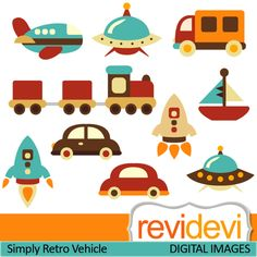 Transportation cliparts in retro colors. Choo choo train, ufo, boat, car, plane, and rocket. These   digital images are  great for any craft and creative  projects