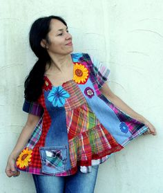 Reserved for Hazel, Crazy grid appliqued flowers denim jeans recycled dress tunic hippie boho style