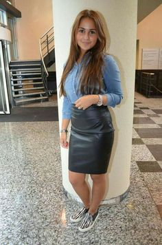 Black leather skirt and sneakers outfit