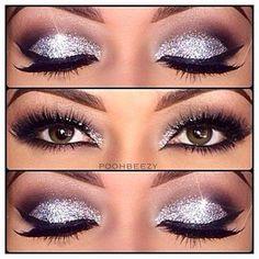 Silver glitter smokey eye.