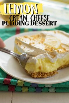 A simple layered no-bake dessert with a cream. A simple layered no-bake dessert with a cream cheese lemon pudding layer its perfect for potlucks. Mini Desserts, Fluff Desserts, No Bake Desserts, Easy Desserts, Delicious Desserts, Eggless Desserts, Holiday Desserts, Lemon Dessert Recipes, Jello Recipes