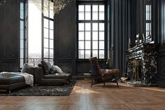 We all know Home design is really important to design. That is why you must check our Amazing Home design where it is really great for your start! Zeitgenössisches Apartment, Parisian Apartment, Paris Apartments, Apartment Design, Apartment Projects, Apartment Interior, Dark Interiors, Beautiful Interiors, Luxury Home Decor