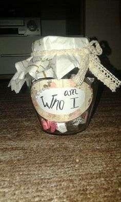This work is for my boyfriend. The jar is about verses about who I am in the name of Jesus. He likes it <3