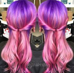 purple pink dyed ombre hair @josievilay