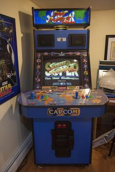 Super Street Fighter II big blue cabinet arcade machine!