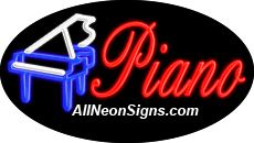 "Piano Flashing Neon Sign-ANSAR14365  Dimensions: 17""H x 30""L x 3""D  Custom colors ship in 5-7 business days  110 volt flasher transformer  Cool, Quiet, and Energy Efficient  Hardware & chain are included  Comes standard with 6' power cord  Indoor use only  1 Year Warranty/electrical components  1 Year Warranty/standard transformers."