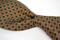"BRIONI Recent Brown Bronze Woven Box Check 100% Silk Mens Tie - 3.50"" #Brioni #NeckTie"