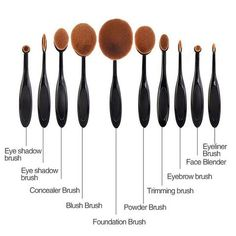 10pcs Toothbrush Shaped Foundation Power Oval Puff Makeup Brushes Set Kits be