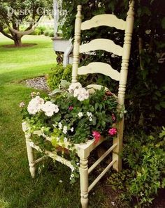 Cream flower planter chair.
