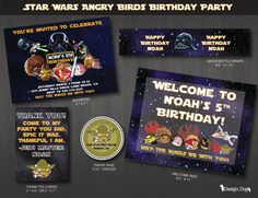 Star Wars Angry Birds Birthday Party Pack via Etsy Bird Birthday Parties, Birthday Bash, Birthday Party Invitations, Birthday Ideas, Star Wars Birthday, Star Wars Party, Party Packs, Childrens Party, Angry Birds