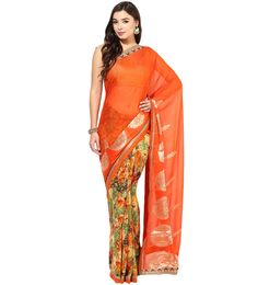 Shop Orange & Olive Floral Print Saree.  Based in USA California 1-3 day shipping. Shop online  www.pinkphulkari.com