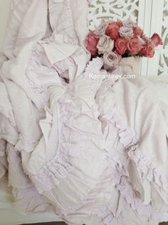 Fırfırlı Shabby chic örtüler/Shabby chic Home -valentines day roses-Romantic bedroom -bedding