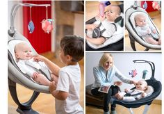 Swoon Motion Baby Swing Practical, fun and comfortable baby swing From birth up to 9kg  This baby chair is suitable for sleeping and playing. You can activate the automatic swing with 5 speed levels and 2 motion modes: side by side or back and forth. Very convenient the seat can be adjusted with only one hand and rotates at 360° to always keep an eye on baby. It comes with a newborn cushion included and 8 digital sound to sooth baby. Check the bloggers reviews here