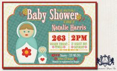Baby Shower Invitation Retro Matryoshka Babushka Russian Nesting Doll Printable DIY