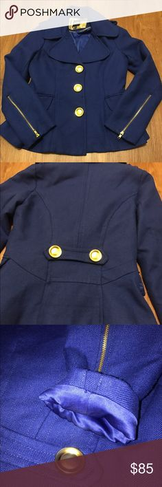 RARE royal blue peplum peacoat This royal blue peplum peacoat is a size medium but could also fit size large. Would be a great winter coat! Very warm with a silky interior lining and thick outer material. Never been worn, no damage. Gold zippers and buttons, beautiful peplum shape! Will post more pictures/measurements upon request. I always accept reasonable offers! XOXO Jackets & Coats Pea Coats