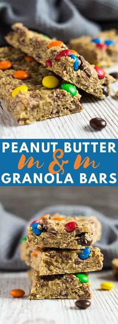 No-Bake Peanut Butter M&M Granola Bars - Deliciously thick and chewy granola bars loaded with peanut butter flavour, and stuffed full of chocolate chips and M&MS! #peanutbutter #granola #bars #nobake